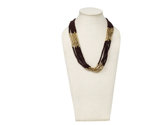 Picture of Necklace Linnea, burgundy/gold