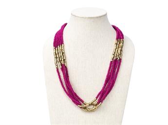 Picture of Necklace Linnea, fushia/gold