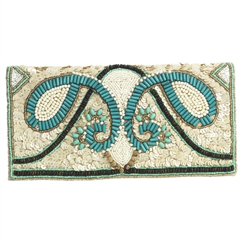 Picture of Clutch bag Inez, ivory/turquoise