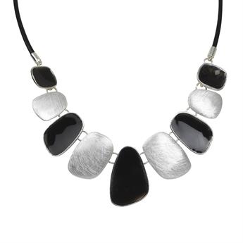 Picture of Necklace Gabriella, silver/black