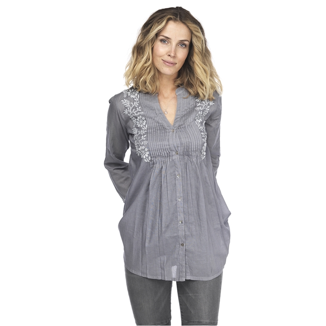 Picture of Tunic Allison, embroidered grey