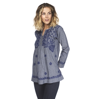 Picture of Tunic Susanna, embroidered denim