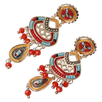 Picture of Earring Jennifer, red/turquoise