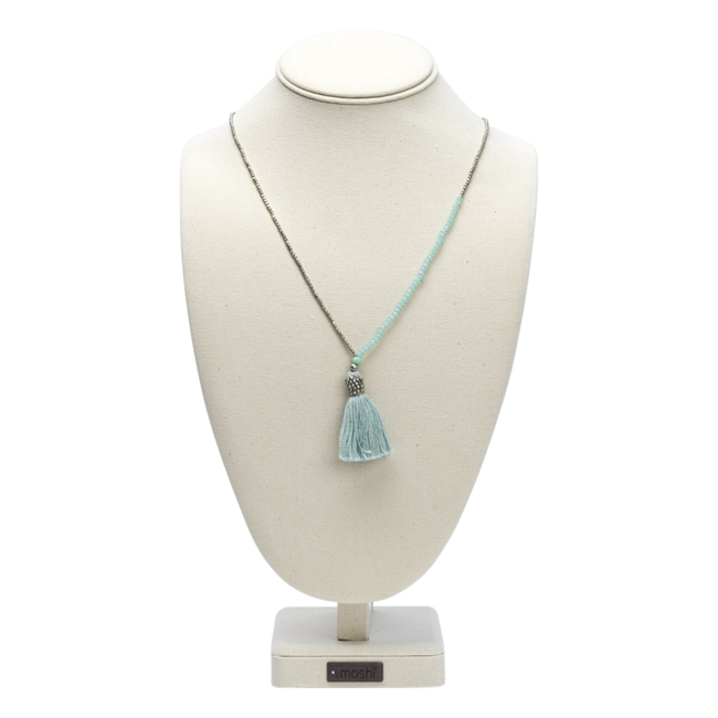 Picture of Necklace Bobbo, silver/lt blue