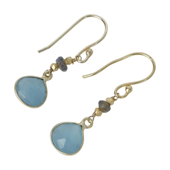 Picture of Earring Gill, gold plated labradorite/aqua chalced