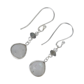 Picture of Earring Gill, silver plated labradorite/white rain