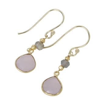 Picture of Earring Gill, gold plated labradorite/rose quartz