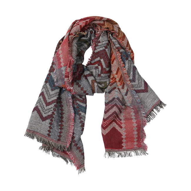 Picture of Scarf Paisley, grey/red