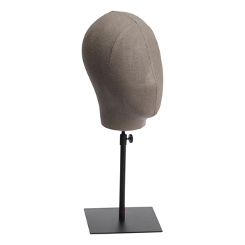 Picture of Head on stand, black metal/grey fabric