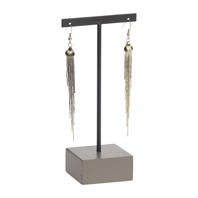 Picture of Earring stand set of 3, black metal/grey wood