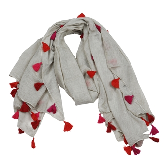 Picture of Scarf Adelina, beige/red