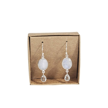 Picture of Earring Ruby, silverp/rainbow moonstone
