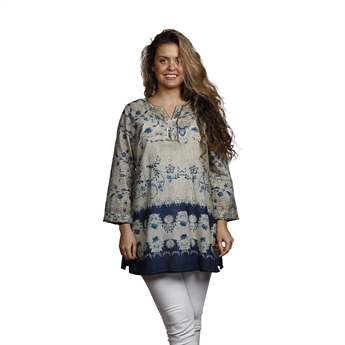 Picture of Tunic Beatrice, size Small, beige/blue