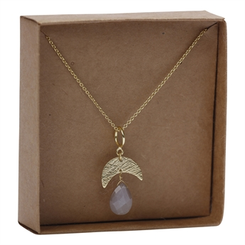 Picture of Necklace Ambre, goldp/grey moonstone