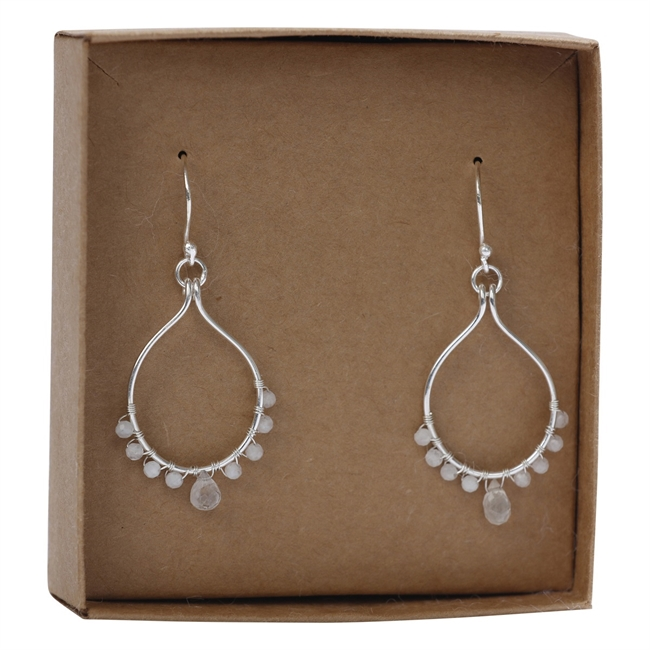 Picture of Earring Elisabeth, silverp/rainbow moonstone