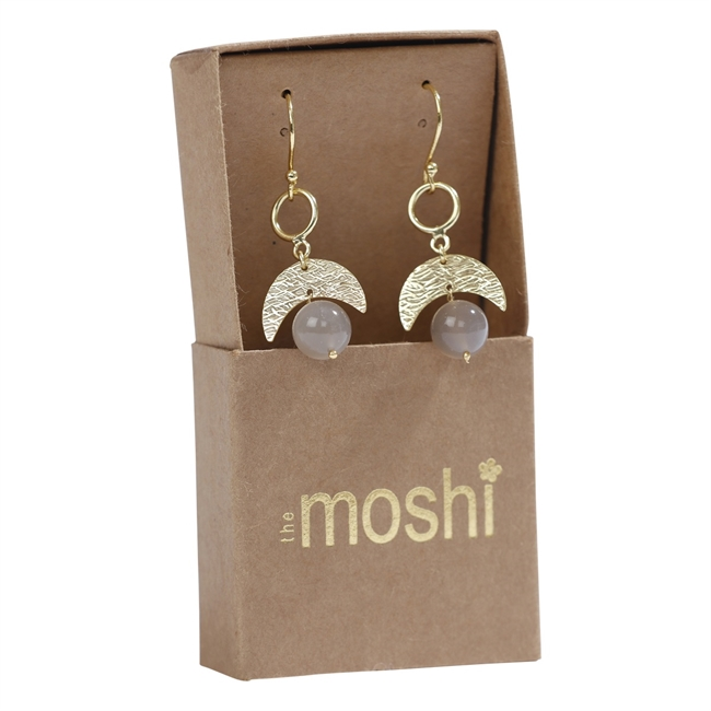 Picture of Earring Giovanna, goldp/grey moonstone
