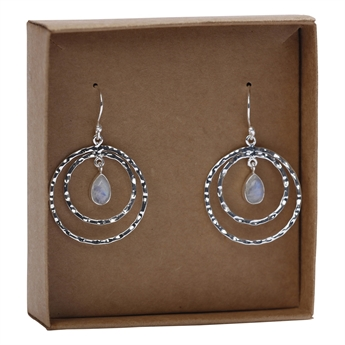 Picture of Earring Siena, silverp/rainbow moonstone