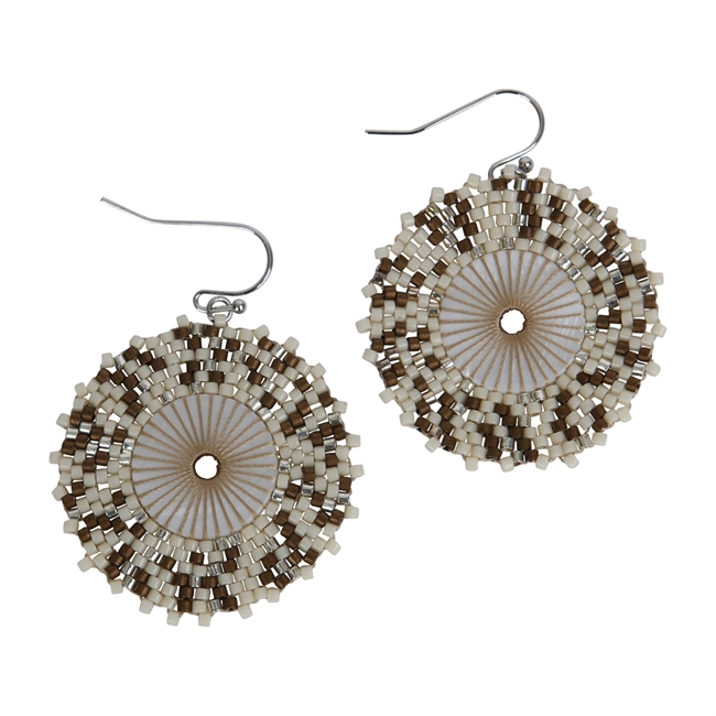 Picture of Earring Chloe, ivory/grey.