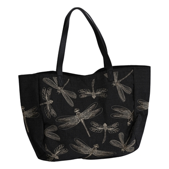 Picture of Shoulder bag Dragonfly, black/gold.