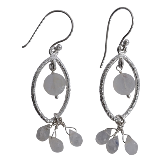 Picture of Earring Amira, silver plating/rainbow moonstone