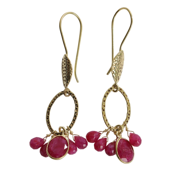 Picture of Earring Ariel, gold plating/ruby