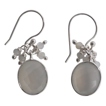 Picture of Earring Kelly, silver plating/white moonstone