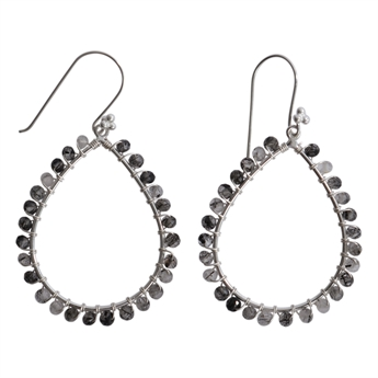 Picture of Earring Melanie, silver plating/black routile