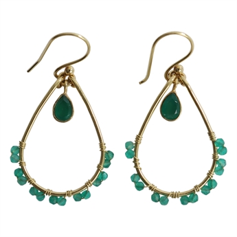 Picture of Earring Ray, gold plating/green onyx